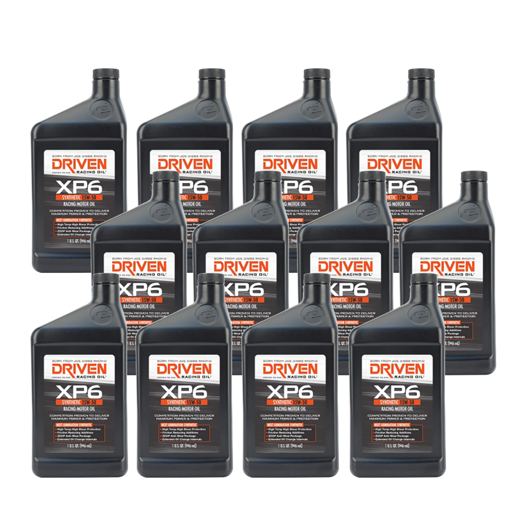 Driven Racing Oil 01007 XP6 Synthetic 15W50 Motor Oil, 12 Quarts