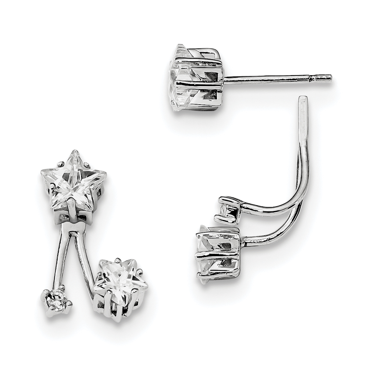 Sterling Silver Rhodium-plated CZ Star Front and Back Earrings QE13456 - image 1 of 1
