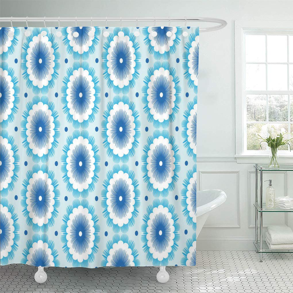 Abstract Pattern of Bubbles Modern Aquatic Pebble Water Drops Shower Curtain Set