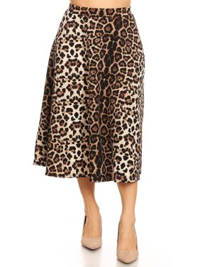 MOA COLLECTION Women's Pattern Print Comfy Loose Fit Elastic Waist Pleat A-Line Casual Midi Skirt