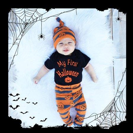 New Baby Boys Girls Halloween hotsales Pumpkin Romper Jumpsuit+Pants 3Pcs Set Clothes