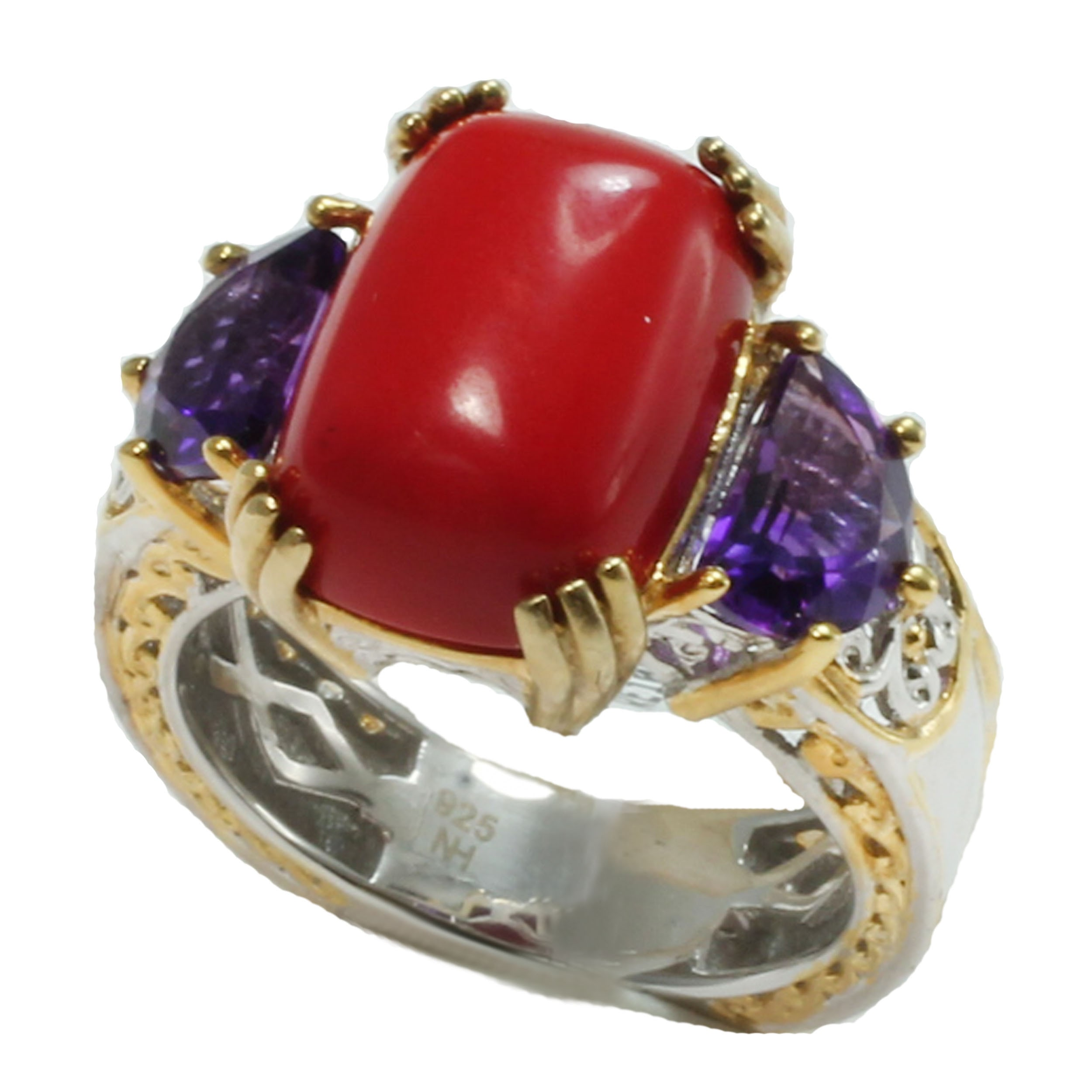 Michael Valitutti One-of-a-kind  Salmon Coral & African Amethyst