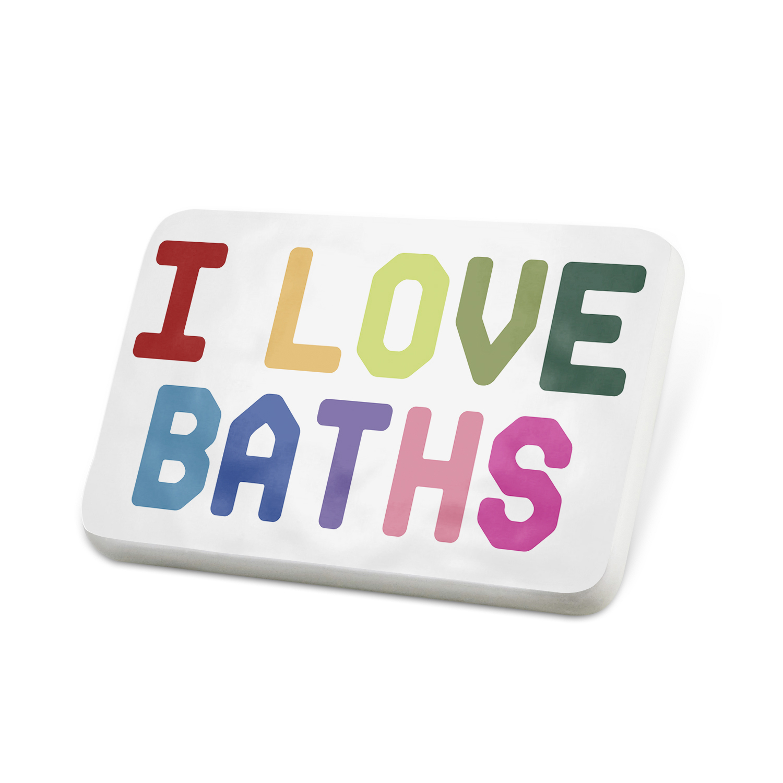 Porcelein Pin I Love Baths,Colorful Lapel Badge – NEONBLOND