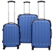 GLOBALWAY 3 Pcs Luggage Travel Set Bag ABS+PC Trolley Suitcase Blue by Costway