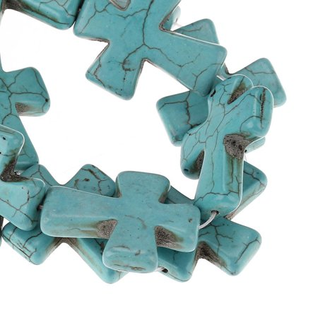 Strand Turquoise Cross - 1 Strand, Turquoise Malachite Green Cross Spacer Loose Beads 3.7cmx3cm (1 4/8...