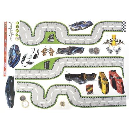 Voiture Course à Maison décor tracé Routier adhésive Autocollant Autocollant Mural 50 x 70cm - image 3 de 4