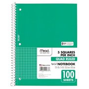 "mead spiral notebook, 1 subject, quad ruled, 100 sheets, 10-1/2"" x 8"", green (05676ac5)"