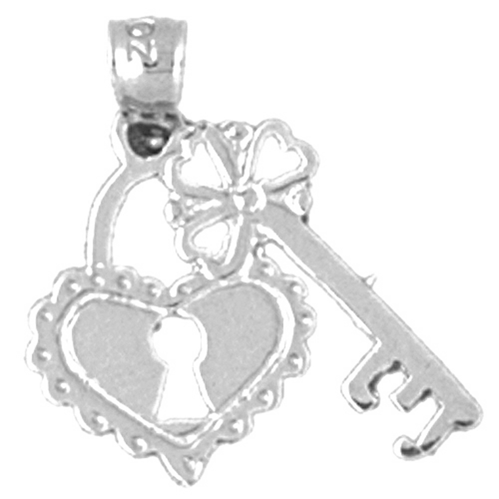 Sterling Silver Heart Lock And Key Pendant - 19 mm (Approx. 0.935 grams)