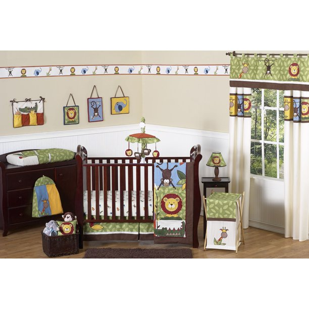 11pc Crib Bedding Set For The Jungle Time Collection By Sweet Jojo Designs Walmart Com