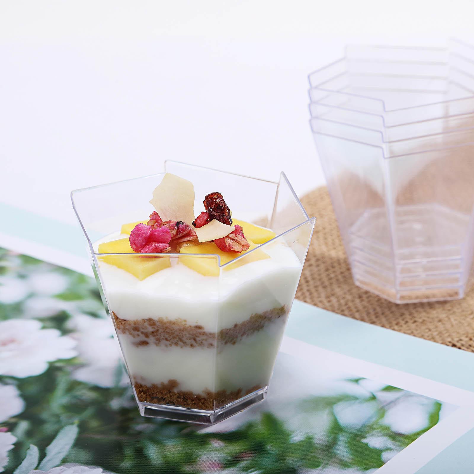 BalsaCircle Clear 12 pcs 3 oz Plastic Hexagon Dessert Cups - Wedding Reception Party Buffet Catering Tableware