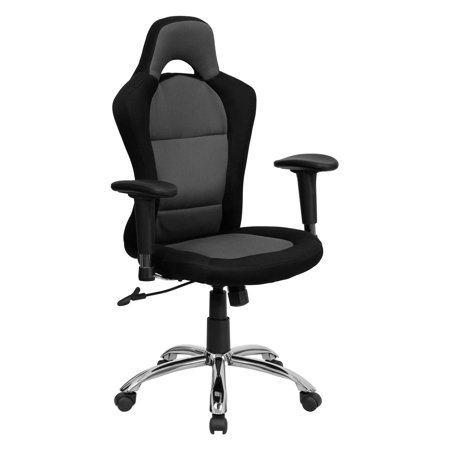 Race Car Style Bucket Seat Office Chair With Arms Black And Gray