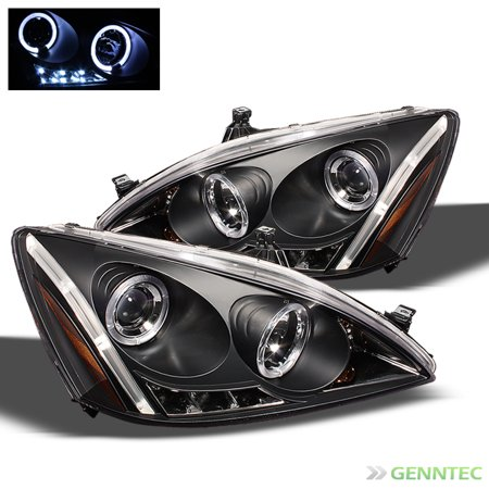 2003-2007 Honda Accord Dual Halo LED Projector Headlights Black Head Lights Lamp Pair Left+Right 2004 2005 2006