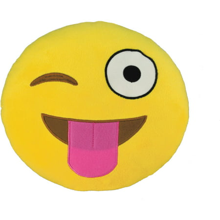 Emoji Large Pillow, Silly Wink