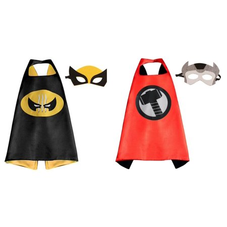 Thor & Wolverine Costumes - 2 Capes, 2 Masks with Gift Box by - Wolverine Mask Kids