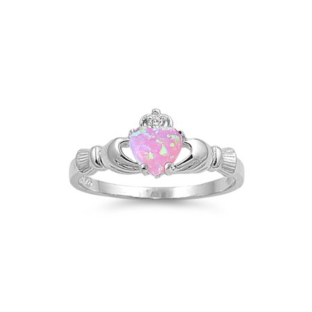 Claddagh Benediction Pink Simulated Opal Cubic Zirconia Ring Sterling Silver 925 Size 10