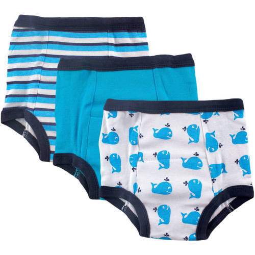 Luvable Friends Baby Boy and Girl Training Pants, 3-Pack, Whale, 3T