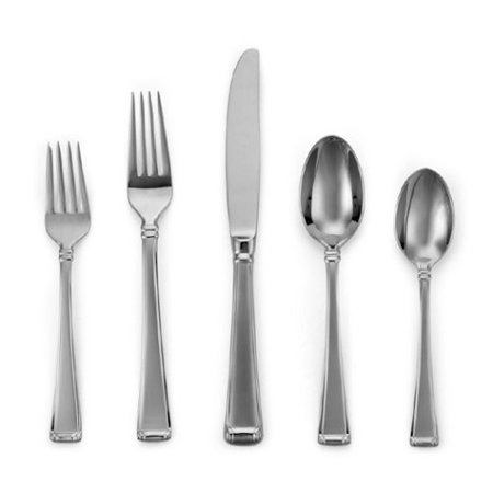 Column Frosted Stainless Flatware 5-Piece Place Setting, Service for 1, Tulip Size Hostess Buttercup Metal Black Frosted Bright Modern 1810 Gorham Ribbon.., By Gorham Ship from US