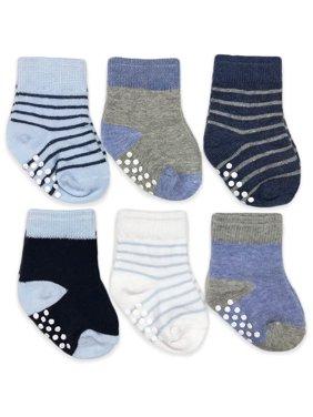 Jefferies Socks Baby Boys Non-Skid Assorted Crew Socks, 6-Pack