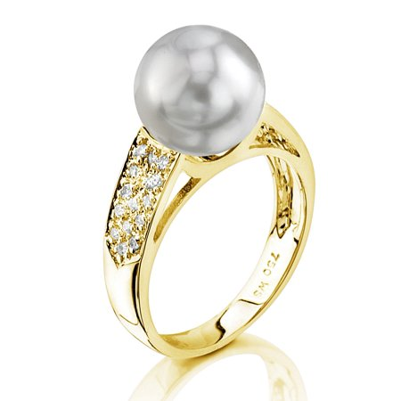 9mm Cultured Pearl Ring (9mm White South Sea Cultured Pearl & Diamond Alexa Ring in 14K)