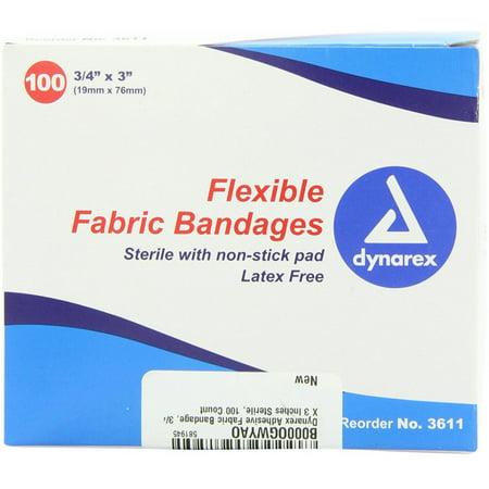 "Dynarex Flexible Fabric Bandages, 3/4"" X 3"" 100 ea"