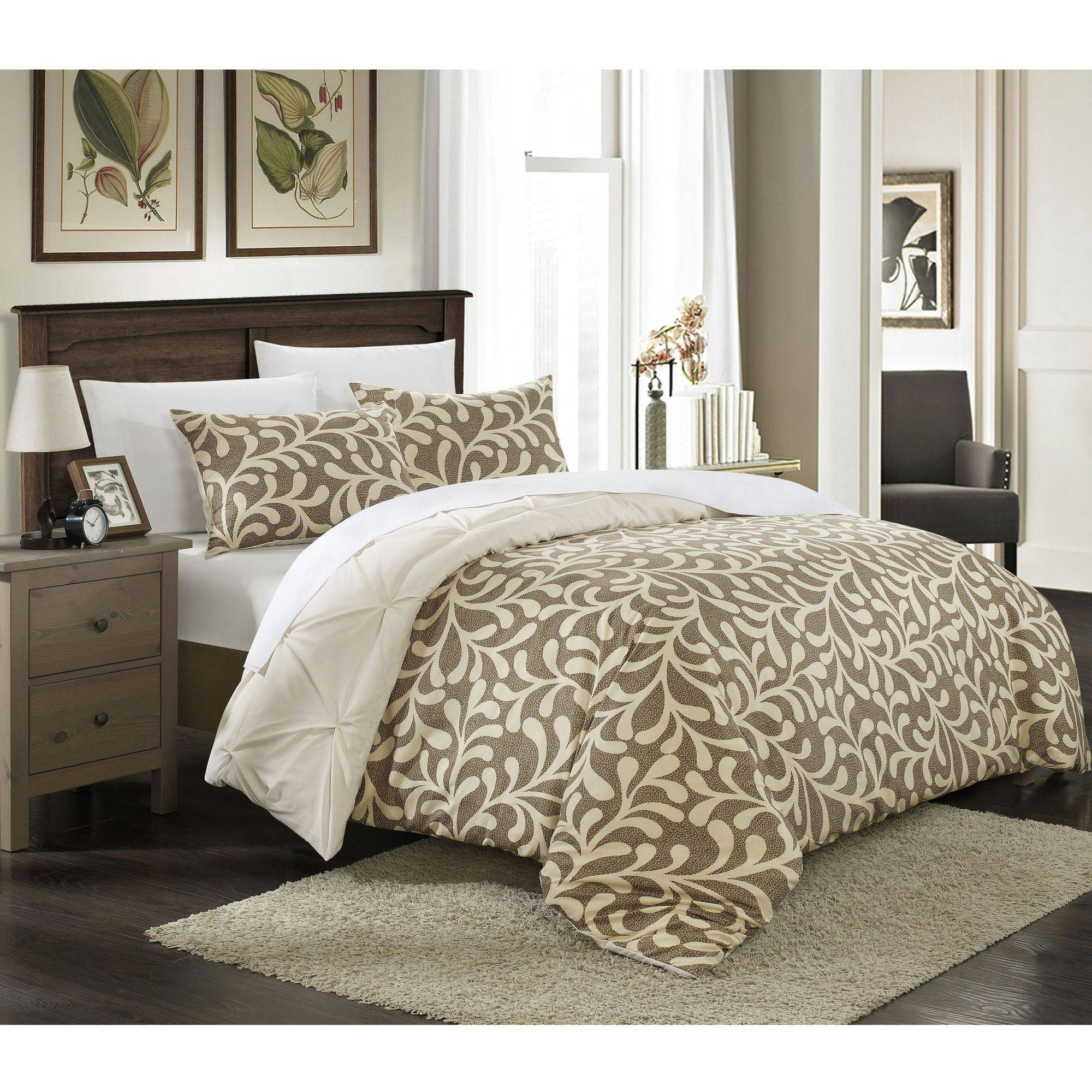 3-Piece Talitha Pleated Pintuck Reversible Duvet Set