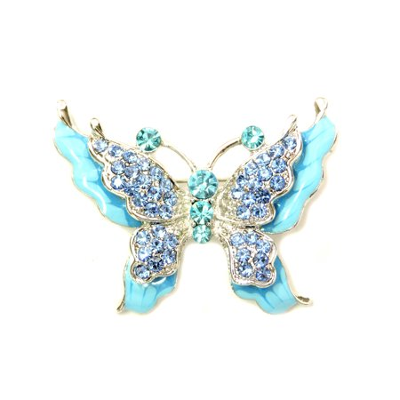 Gorgeous Rhinestone Crystal Enamel Butterfly Pin Brooch - (Sterling Butterfly Pin)