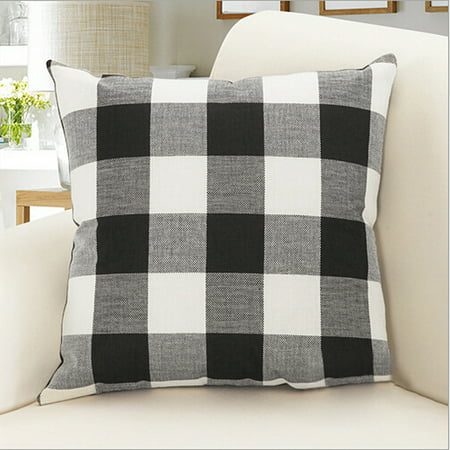 Outgeek Throw Pillow Case Classic Retro Plaid Pillow Cover Protector Cushion Cover for Home Office Car Decor 17.7'' x - Beaded Sari Pillows Cushion Covers