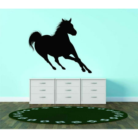 - Running Horse Silhouette Equestrian Stallion Animal Vinyl Wall Decal Vinyl Peel And Stick Sticker Wall Decal Picture 20x20