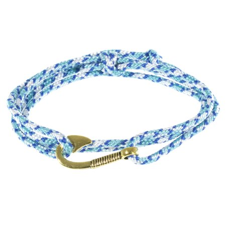 West Coast Paracord Men S Adjule Nautical Anchor And Fish Hook Wrap Cuff Bracelets Available In A Variety Of Finishes Colors Made Nylon