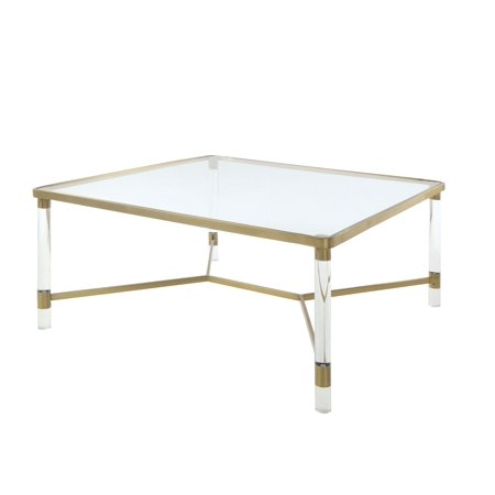 Gold Antique Coffee Table - ACME Penstemon Coffee Table in Clear Acrylic, Gold Stainless Steel
