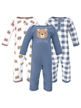Hudson Baby Boy Cotton Coveralls 3-Pack
