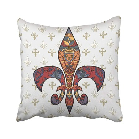 ARTJIA Medieval Fleur De Lis Design On Regular Flag Heraldic Tatto Prince Lion Vintage Kindom Pillowcase Throw Pillow Cover Case 18x18 inches - Medieval Designs
