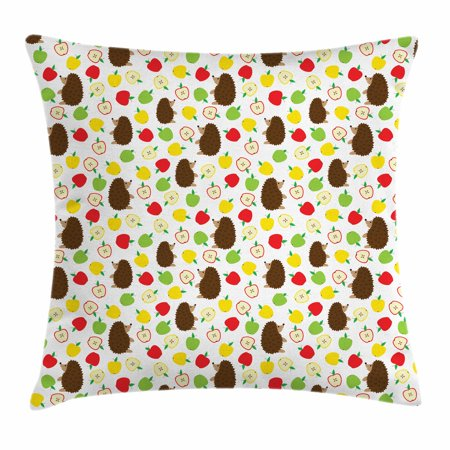 Hedgehog Throw Pillow Cushion Cover, Cute Baby Mammals with Lively Colored Apples Cut in Half Food Cheerful Wildlife, Decorative Square Accent Pillow Case, 18 X 18 Inches, Multicolor, by Ambesonne (Halloween Covered Apples)