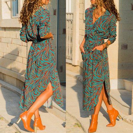 ddc6cf9bfe7e ZAXARRA - Boho Women Long Sleeve Floral Shirt Dress Split Beach Casual Midi  Maxi Dress Green L - Walmart.com