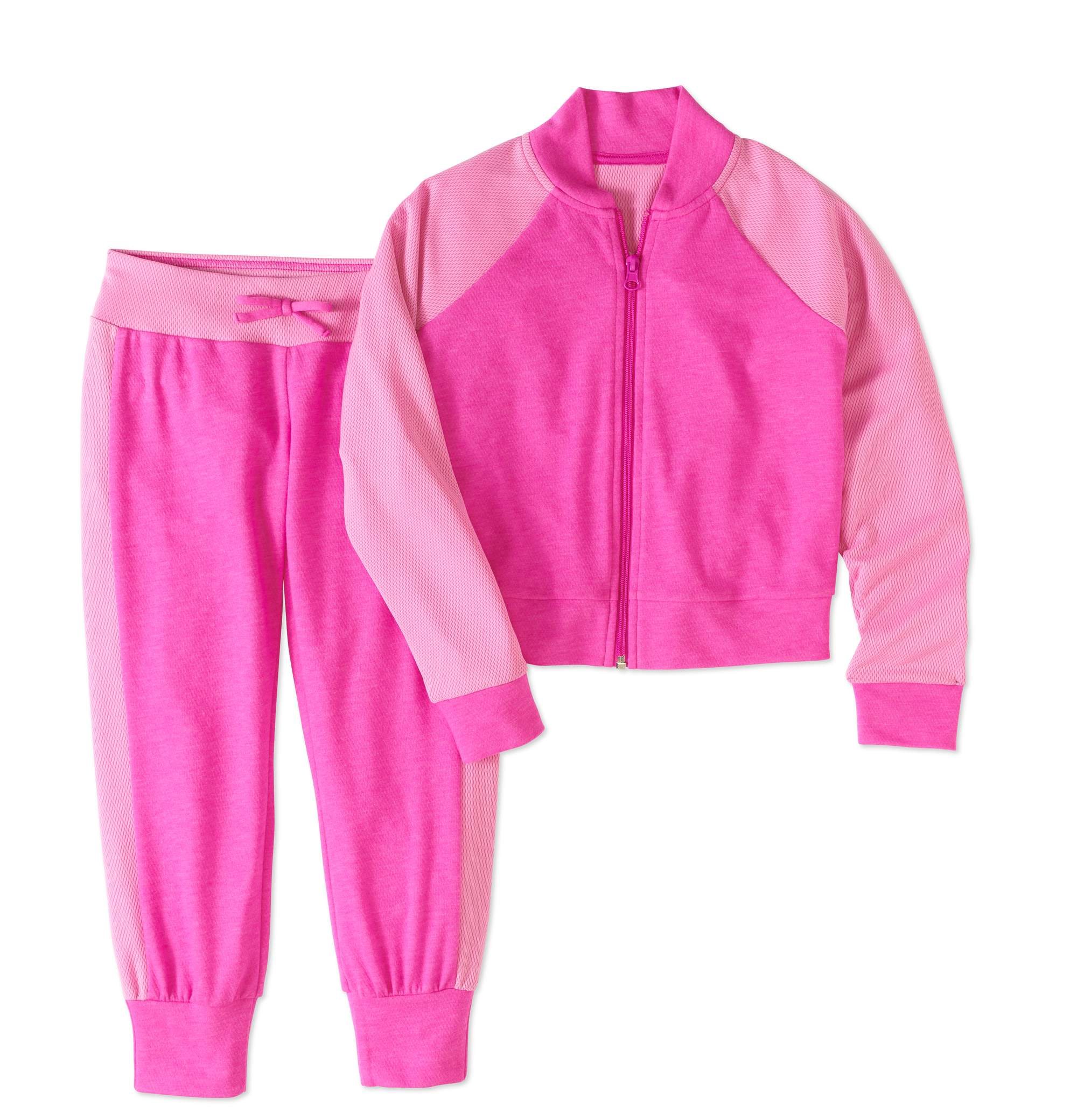Rainbeau Girls' Heather Mesh Bomber and Jogger Set
