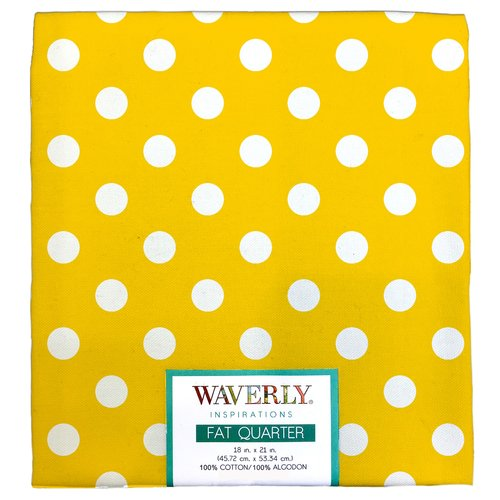 "Waverly Inspiration Fat Quarter 100% Cotton, Big Dot SUNSH Print Fabric, Quilting Fabric, Craft fabric, 18"" by 21"", 140 GSM"