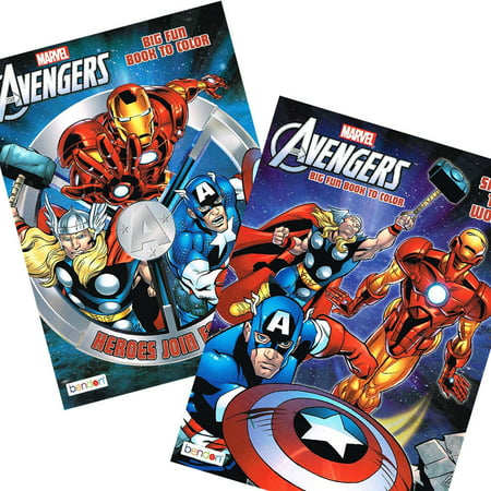 2PC Set Marvel Avengers Activity Coloring Book Iron Man Thor Hulk and More!