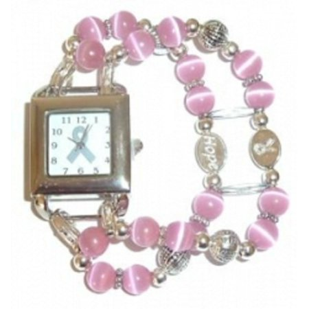 Breast Cancer Awareness Watch by Hidden Hollow Beads - Beaded Watch Band - Pink Breast Cancer Watch