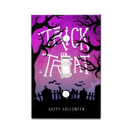 Happy Halloween - Trick or Treat - Graveyard Cat - Lantern Press Artwork (Light Switchplate Cover)