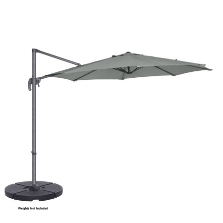 Villacera 10' Offset Outdoor Patio Umbrella with 360 Degree Rotation Pole and Vertical Tilt, Gray