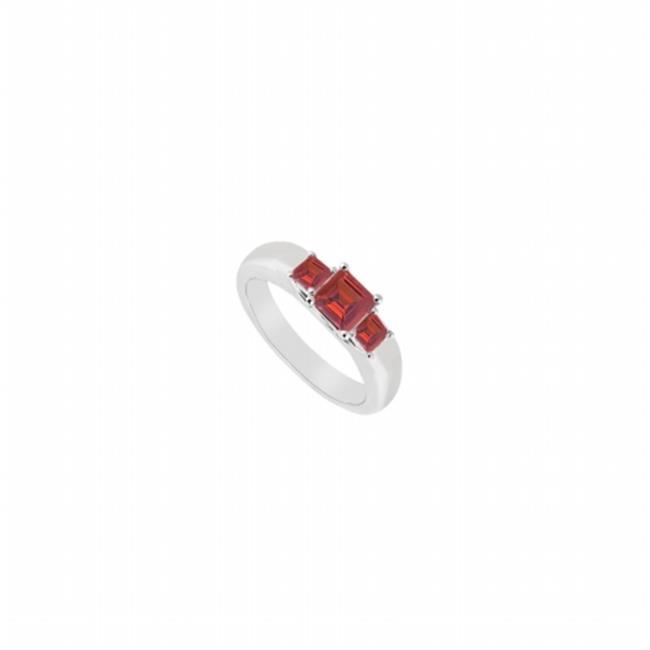 Fine Jewelry Vault UBJ545W14R-101RS7 Three Stone Ruby Ring 14K White Gold, 0.25 CT - Size 7