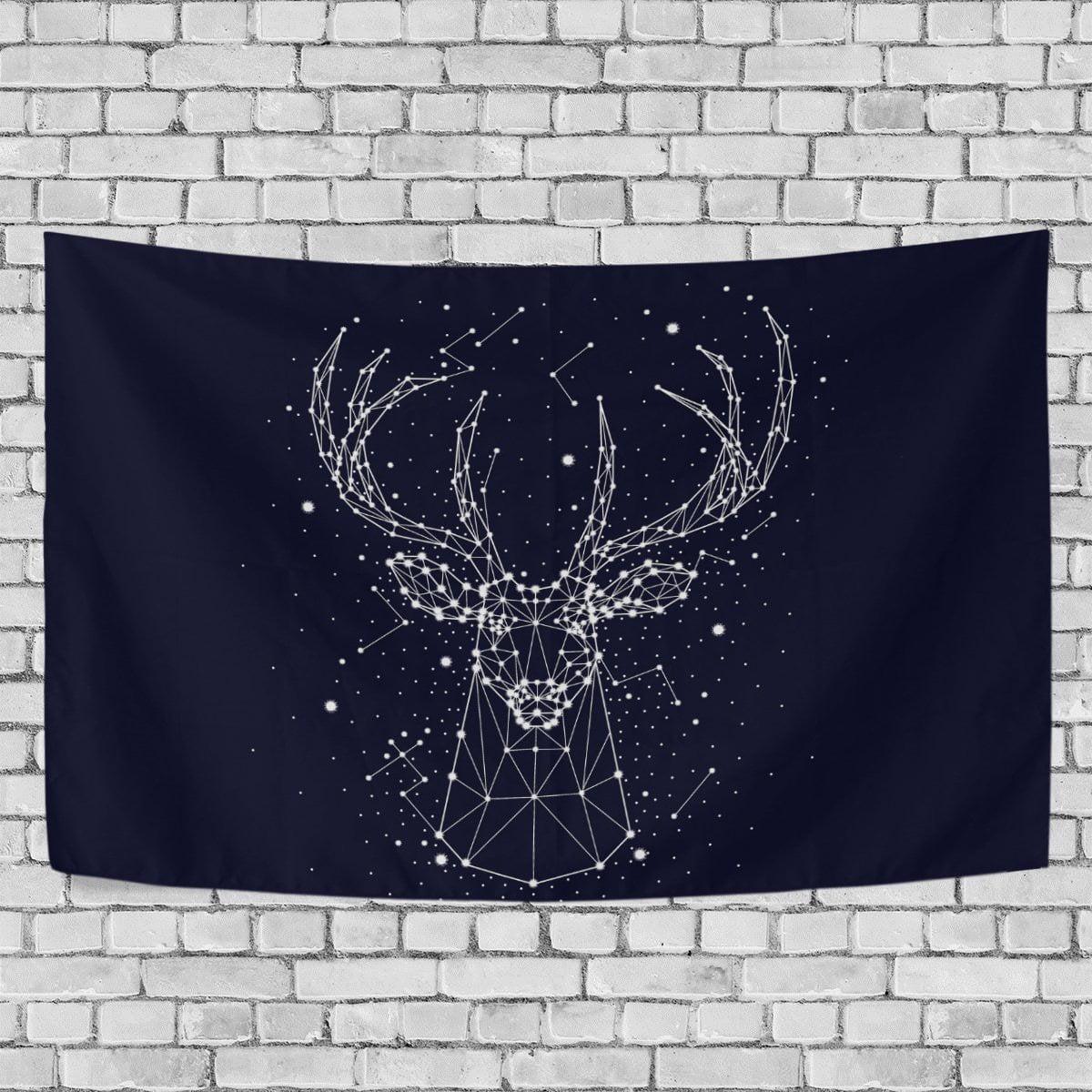 Popcreation Starry Sky Deer Constellation Wall Tapestry Dorm Throw