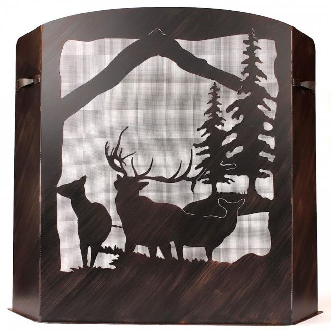 Coast Lamp Manufacturer 15-R29C-S Small Iron ELK Scene Fireplace Screen Burnt Sienna by Coast Lamp Manufacturer