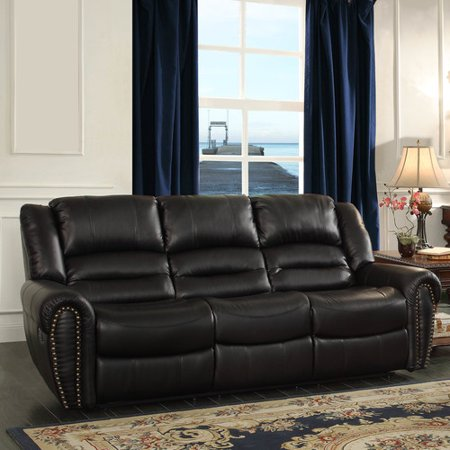 Homelegance Black Leather (Homelegance Center Hill Double Reclining Sofa in Black Leather)