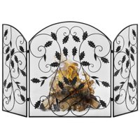 Best Choice Products 3-Panel 50x30in Steel Metal Mesh Fireplace Screen w/ Rustic Worn Finish, Scroll Leaf Decals