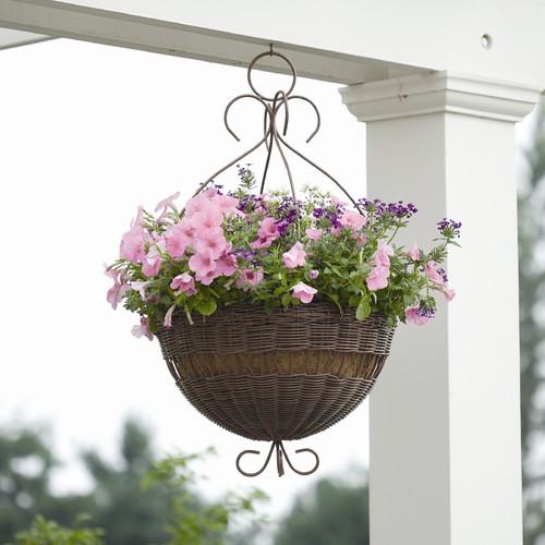 DMC All Weather Resin Wicker Round Hanging Basket