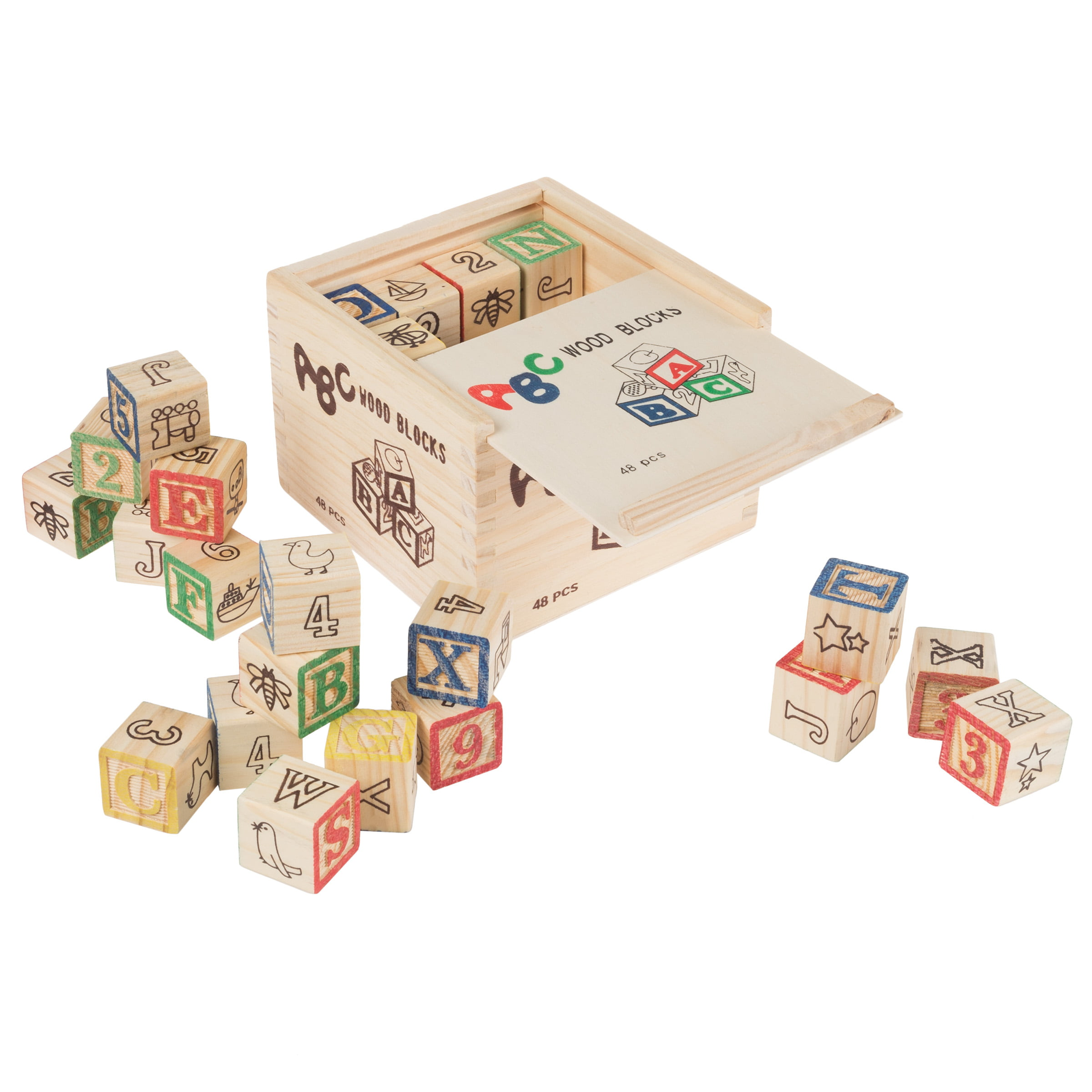ABC and 123 Wooden Blocks- Alphabet Letters and Numbers Learning Block Set-Educational... by Trademark Global LLC