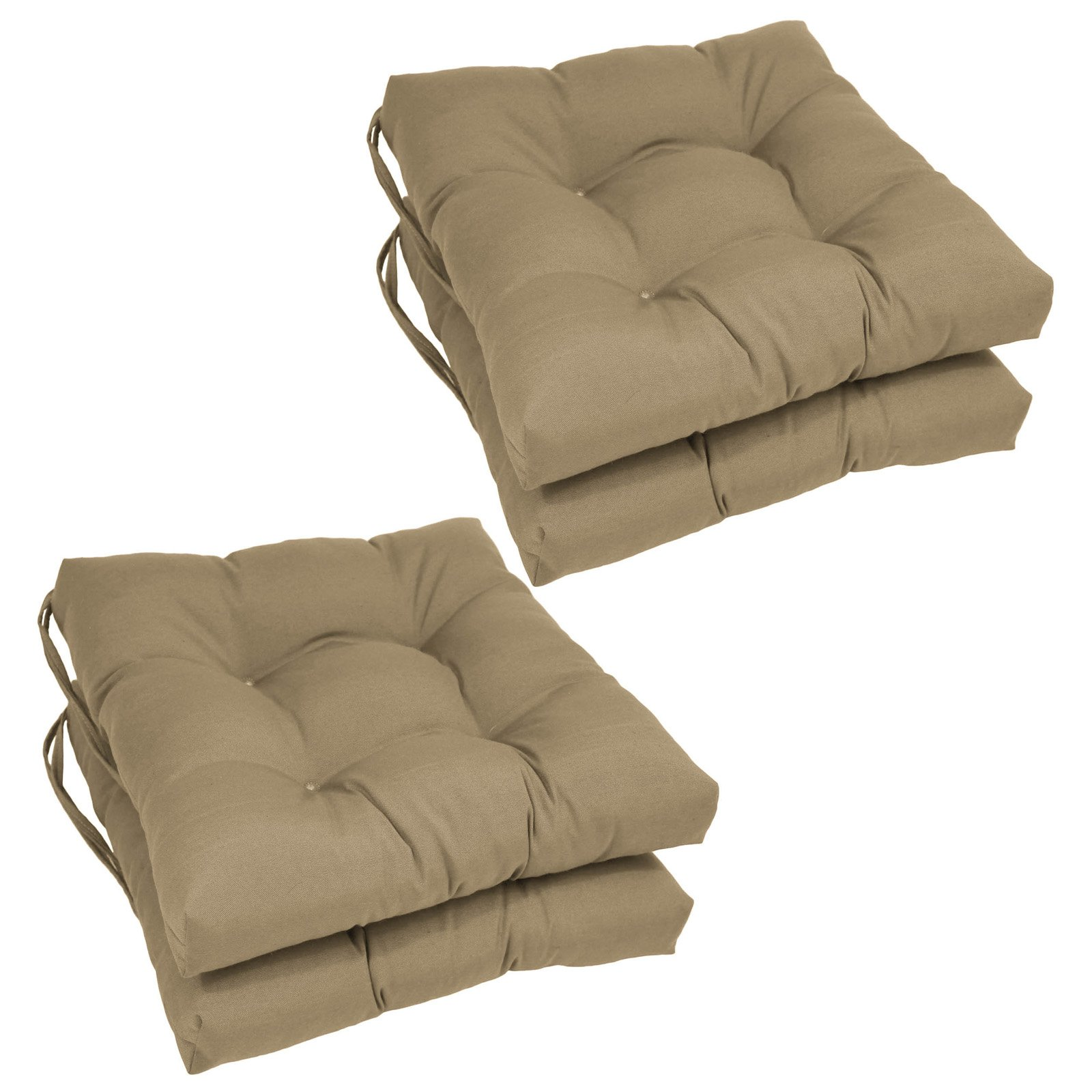 Blazing Needles Square 16 x 16 in. Twill Dining Chair Cushions - Set of 4