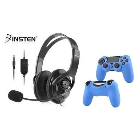 Insten Wired PS4 Headphone Gaming Headset with Mic and Volume Control (Bundle with Blue Soft Silicone Gel Skin Cover Case for Sony Playstation PS4