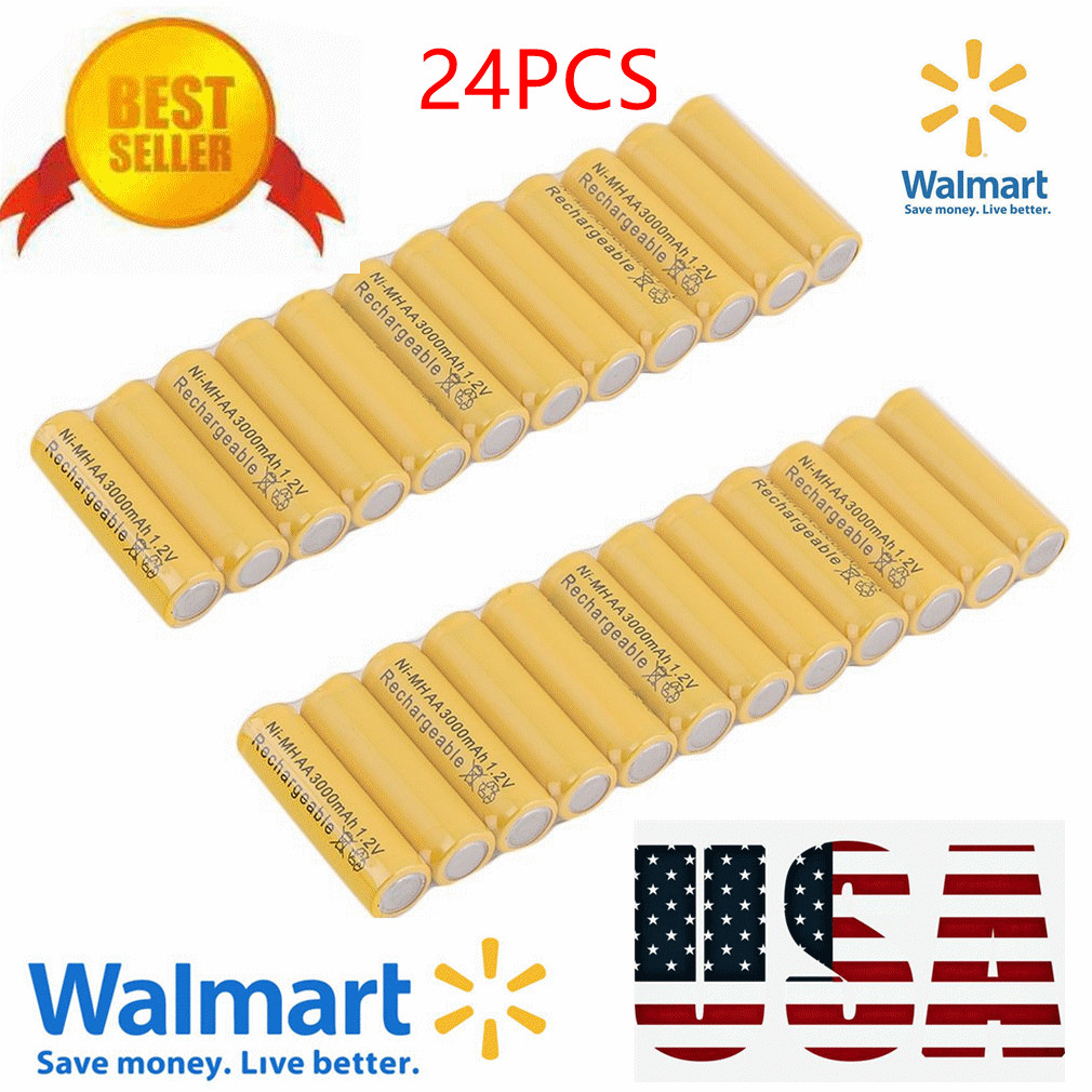 24 x AA 3000mAh Ni-Mh 1.2V rechargeable battery Cell for MP3 RC Yellow